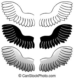 set. Wings. Black outline and painted