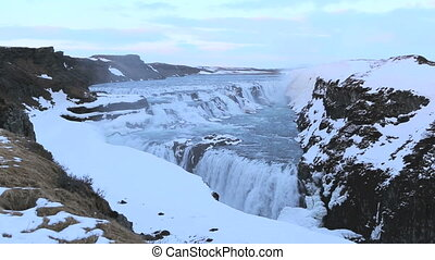 Waterfall Gullfoss in winter