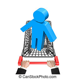 Hands pushing shopping cart with blue 3D man, high angle...