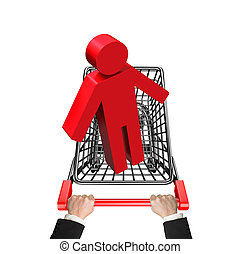 Hands pushing shopping cart with red 3D man, high angle...