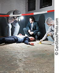 Forensic science - Murder scene with two forensic analysts...