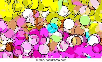 yellow and pink circle abstract
