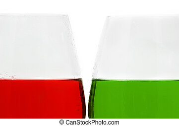 glass of different colors on a white background