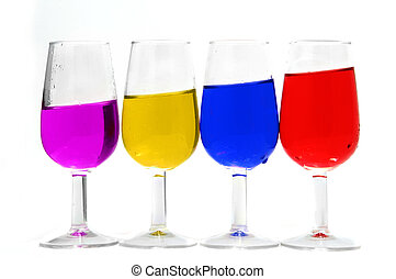 colors - glass of different colors on a white background