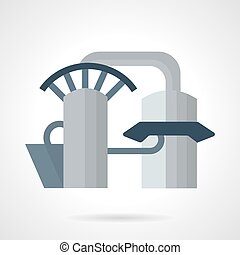 Hydropower plant vector icon - Flat color style vector icon...