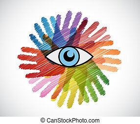 eye over a color hands diversity concept illustration design...