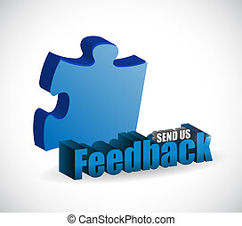 send us feedback puzzle pieces sign