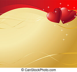 Valentine Hearts - Detailed scroll and hearts page with copy...