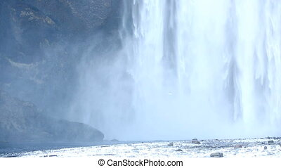 Waterfall Skogarfoss, Iceland in wintertime