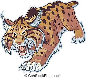 Bobcat or Wildcat Vector Mascot - Vector cartoon clip art...