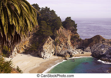Big Sur ocean beach - Beach with the waterfall, BigSur...