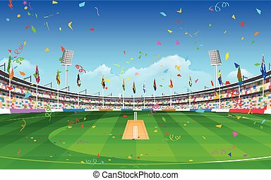 Stadium of cricket showing flags of participating countries