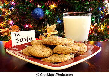 Milk and Cookies for Santa - A plate of cookies and a glass...