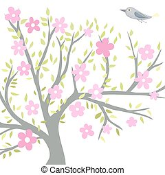 Flowering tree with a bird