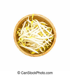 Bean sprout. - Bean sprout in the wood bowl on white...