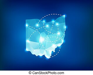 Ohio state map polygonal with spot lights places