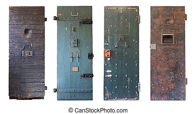 Collection of four old prison doors, prisons in the...