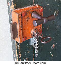 viejo, cerradura, en, Un, prisión,