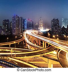 Shanghai interchange - beautiful city interchange overpass...