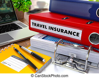 Red Ring Binder with Inscription Travel Insurance - Red Ring...