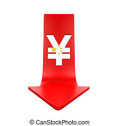 Chinese Yuan Symbol and Red Arrow isolated on white...
