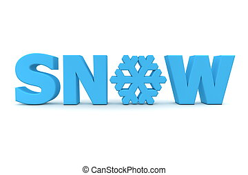 Word Snow With Snowflake - Light Blue - word Snow in light...