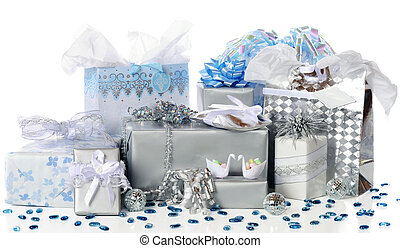 Wedding Gifts Galore - A variety of silver and blue-wrapped...