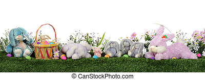 Easter Bunny Border - A border composed of an Easter basket...