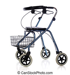 Wheeling Walker - A wheeled walker with brakes, basket and...