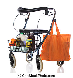 Walker Shopping - A wheeling walker toting a basket and...