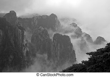 Huangshan Mountain - Huangshan moutain in the cloud and...