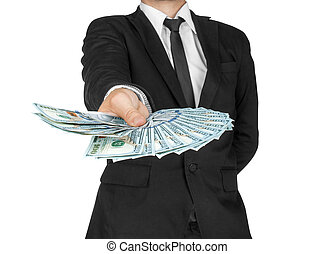 Business Man Displaying a Spread of Cash over a white...