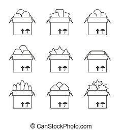 Set of templates with the full box, icons Vector
