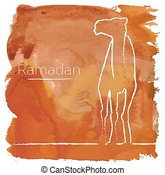 Ramadan greeting with camel, Islamic greeting card for...