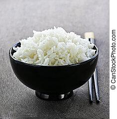 arroz, tazón, palillos