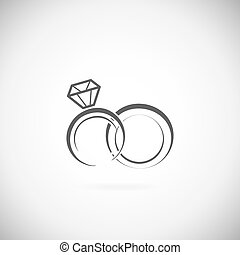 Wedding rings vector icon on a white background