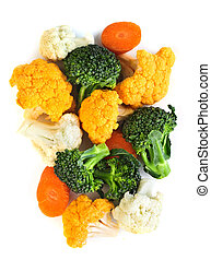 Broccoli cauliflower and carrots isolated on white...