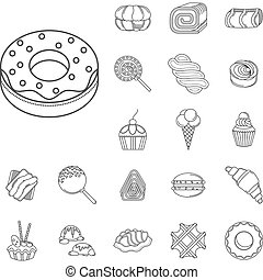 Sweet food flat line vector icons