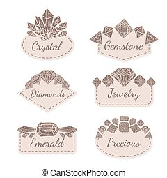 Vector Frame Collection with Gems and Crystals. Set of...