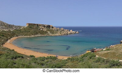 People going to beach blue lagoon - Morning at Malta island...