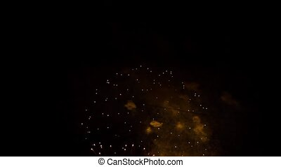 Amazing Circles And Golden Rain At Fireworks Display Show At Night Sky