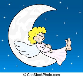 cartoon angel sleeping on the moon