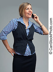 smiling business woman phone talking - Portrait of smiling...