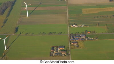 Wind Power Farm - High-angle shot of a wind power farm.