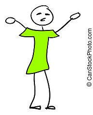 stick man - An image of a very simple stick man with a green...