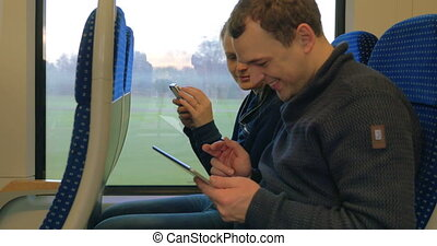 Friends with Gadgets on Train