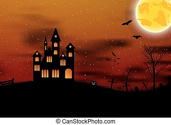 Halloween background with castle, pumkin, bats and big moon....