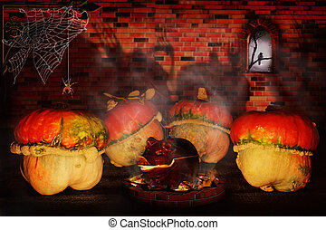 Guile Halloween - Halloween pumpkins in the castle. On the...
