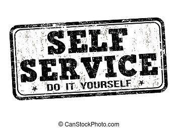 Self service stamp - Self service grunge rubber stamp on...