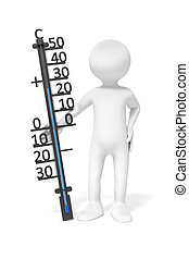 man with thermometer - An image of a simple 3d man holding a...